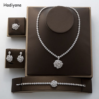 Rose Pendant Jewelry Set New Charming Cubic Zirconia Luxury Nightclub Set Wedding