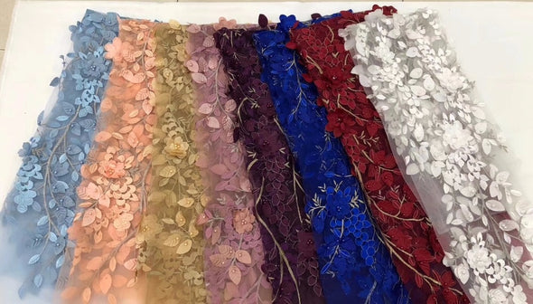 5 yds African Lace Fabric 3D Lace Beads Cotton Real Wax Print