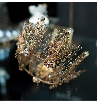 Bronze Gold Full Round Wedding Tiara Crown Handmade Princess Pageant Cosplay