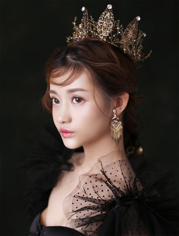 Bronze Gold Full Round Wedding Tiara Crown Handmade Princess Pageant Cosplay - Cosplay Infinity