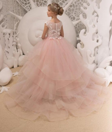 Ivory And Blush Pink Lace Flower Girl Dress Wedding Bridesmaid Long