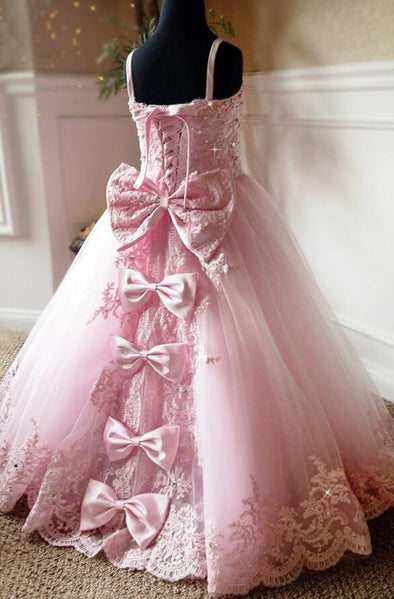 Pink Lace up Back Crystals Rhinestones Princess Beauty Pageant Gown Spaghetti Straps Sweetheart Flower Girl Dresses with Bow - Cosplay Infinity