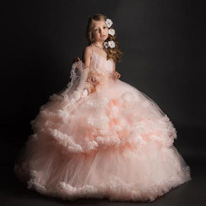 Pink Tulle Princess Flower Girl Dresses for Wedding Party Prom Dress Girls Pageant Gown Custom Made Any Size - Cosplay Infinity