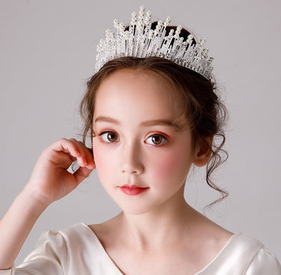 Girls Wedding Tiara Children Flower Girl Crystal Rhinestones Heart Shaped Crown (Silver/gold) - Cosplay Infinity