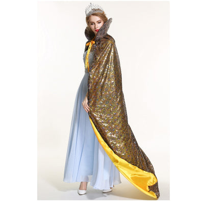 "Pageant Sequin Cloak for Women Full Length 71"" Lace-up Robe Medieval Cape Cosplay Party Queen Costume Gold"