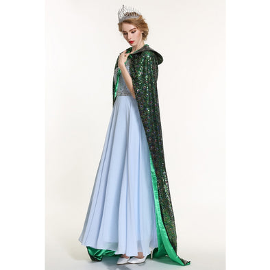 "Sequin Cloak for Women Full Length 71"" Lace-up Robe Medieval Cape Cosplay Party Queen Costume Green"