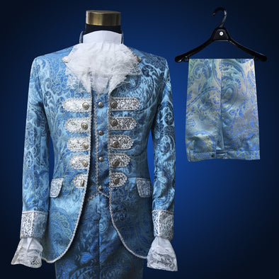 18th Century Outfit Blue Royal Gentleman's Suit Waistcoat Floral Embroidery Designs Historical Theater Suit Reenactment Uniform