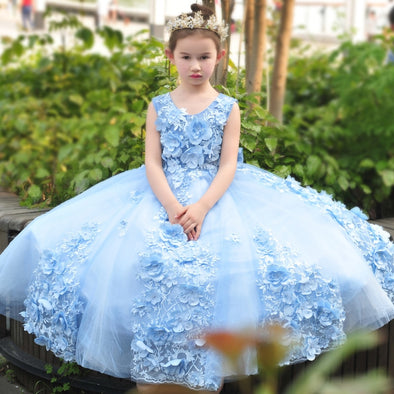 3D Flower Appliques Ball Gown Big Bow Princess Dress Flower Girls Dresses Floor Length Formal