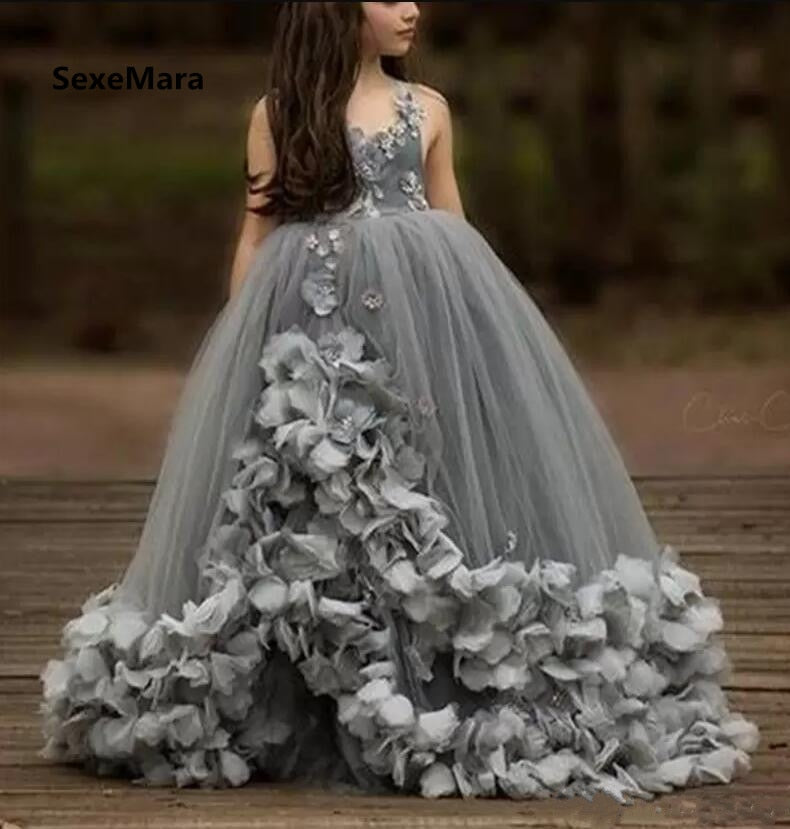 69e2f8829e Customized Girls Dresses Grey Puffy Tulle 3D Flowers Ball Gown V Neck Flower  Girls Dresses for Wedding Pageant Party Gown