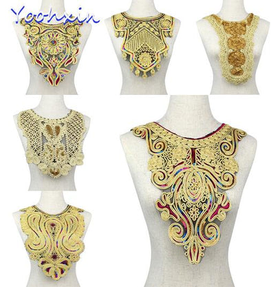 3D Trim Collar Gold Sequin Cotton Embroidery Lace Ribbon Fabric