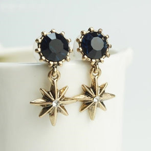 Gold Star Earrings Geometric Blue Rhinestone Pendant Dangle Earrings
