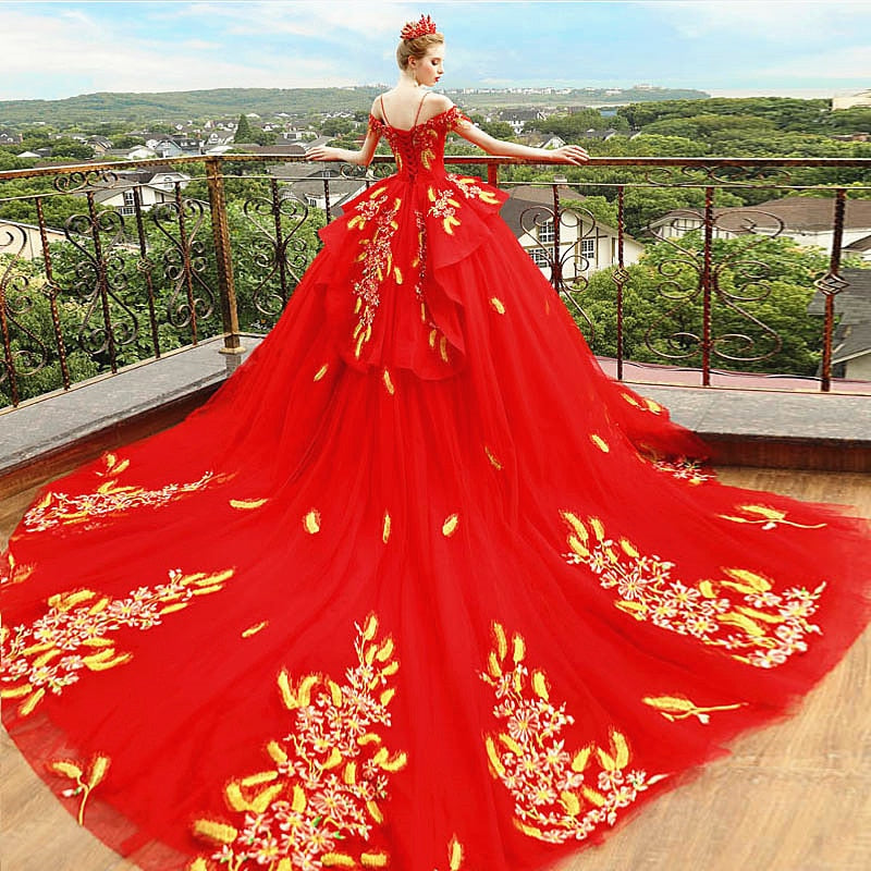 781daf35633c6 Luxury Red Pregnancy Maternity Wedding Dresses Flower Long Train Court– Cosplay  Infinity
