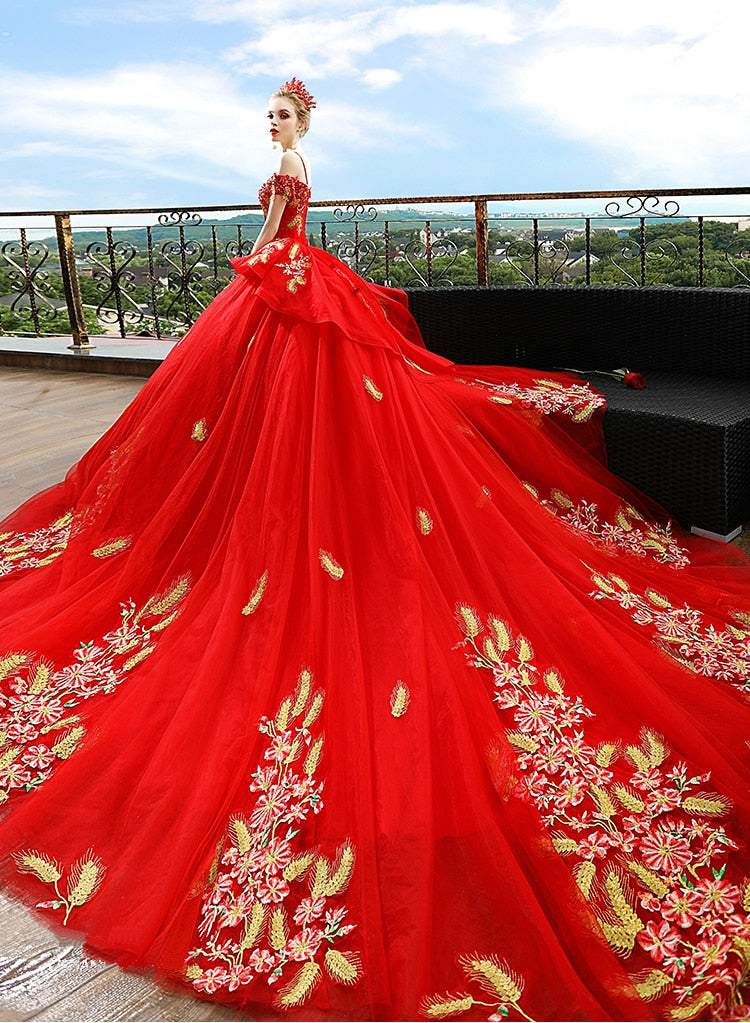 0f0af87e06cbf Luxury Red Pregnancy Maternity Wedding Dresses Flower Long Train Court Gown  Custom