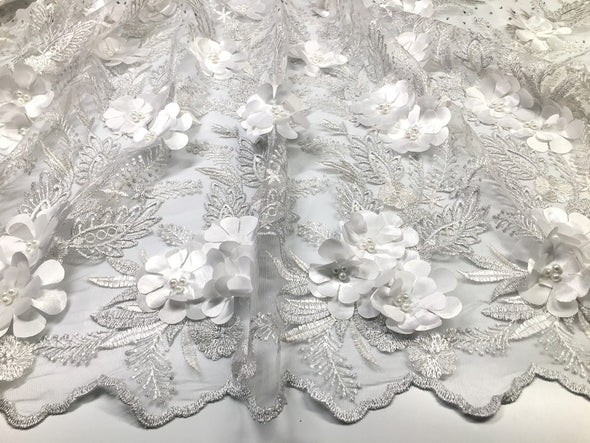 5yds African Lace Fabric Embroidered Nigerian Laces Fabric Bridal High Quality French Tulle 3d Lace Fabric for Women Dress