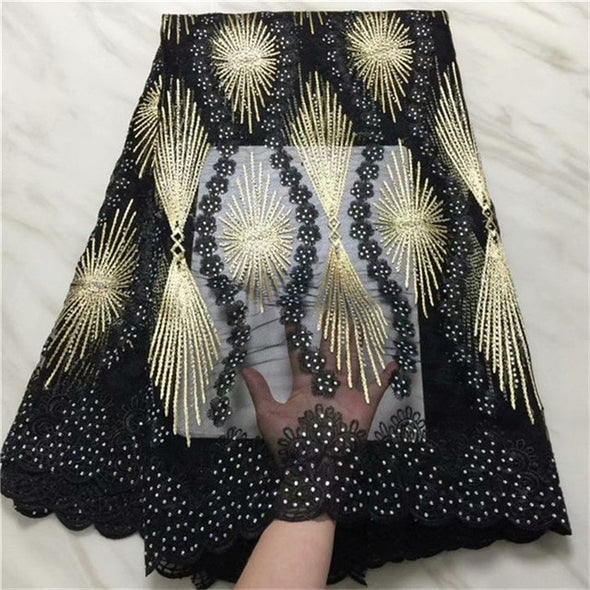 5yds Black Embroidered African Lace Fabric High Quality With Rhinestone French Net Guipure Lace Fabrics Many Colors - Cosplay Infinity