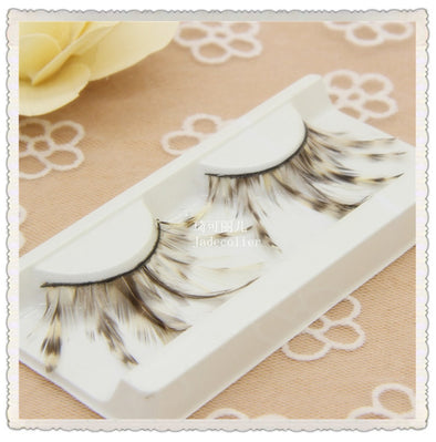 Natural Feather Leopard Eyelashes Stage Cosplay Makeup