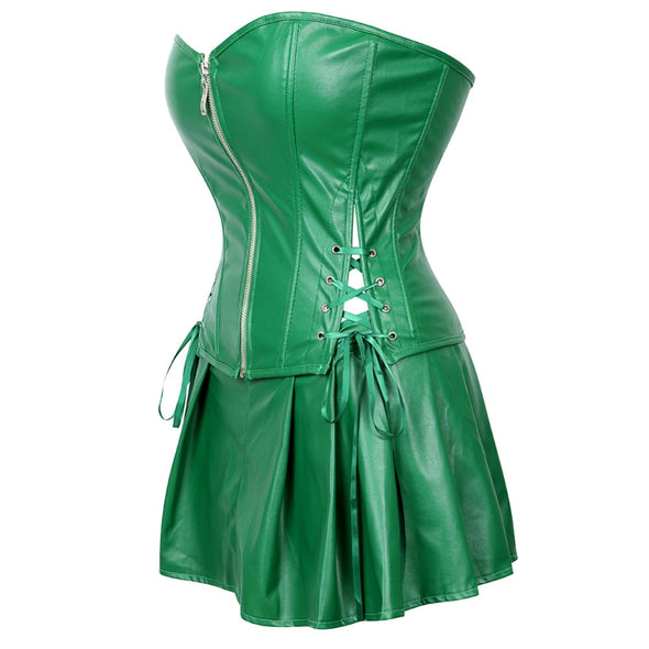 Sexy Corset Faux Leather Bustier with Mini Skirt Poison Ivy Costume Green Plus Size S-6XL