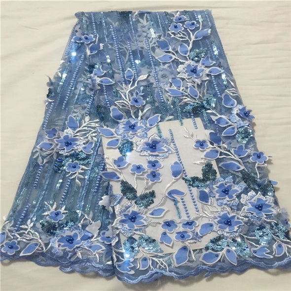 5yds 3D Lace Applique Flower Nigerian Lace Fabric With Beads High Quality Lace Trim Dress - Cosplay Infinity