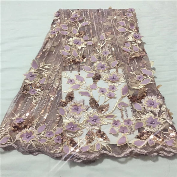 5yds 3D Lace Applique Flower Nigerian Lace Fabric With Beads High Quality Lace Trim Dress