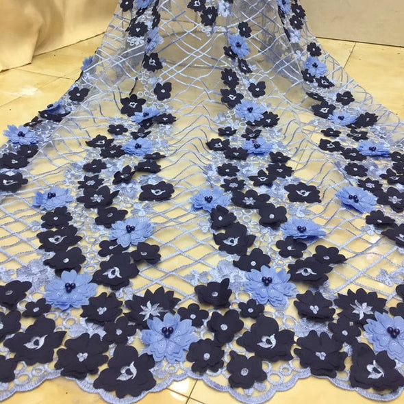 5yards/lot Hot Selling Nigerian 3D Lace Applique Flowers With Beads For Dress Latest African Tulle Lace Fabric - Cosplay Infinity