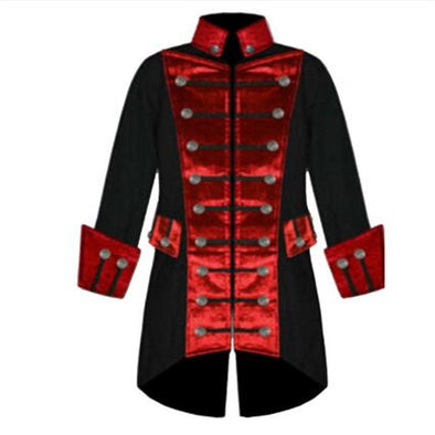 Long Sleeve Mens Trench Coat Velvet Trim Steampunk Jacket Vintage Gothic Brocade