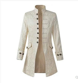 Mens Gothic Brocade Jacket Frock Coat Steampunk Victorian Morning Coat Smart Jacket Black White