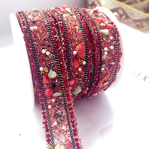 3yds Red Stone Crystal Rhinestone Beaded Lace Trim Wedding Dress Accessories