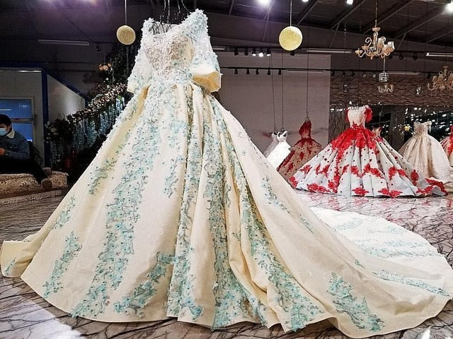 97cbebe6 Luxury Ball Gown Bridal Gowns Wedding Dress Puffy Skirt Wave Sparkly  Crystals 3/4 Sleeves Beads Sequins Lace Appliques