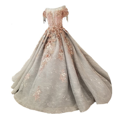 Gray Tulle Wedding Dress Sleeveless Long Train Flowers Bridal Gowns Lace Up Ball Gown
