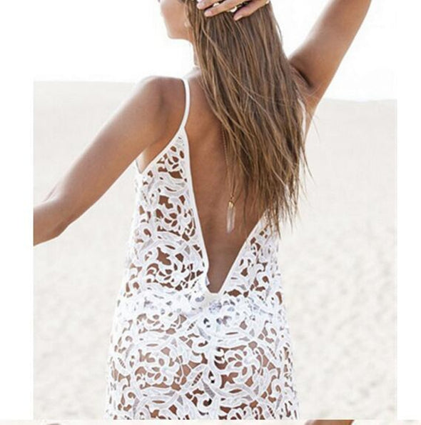 White Hollow Out  Backless Lace Dress Boho Loose Fit