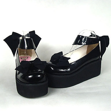 Black Patent Leather High Heel Sweet Shoes with Bow - Cosplay Infinity