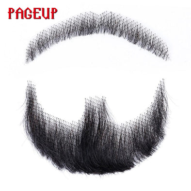 Real Hair Men Fake Beard For Men Mustache Handmade Cosplay Swiss Lace Human Hair Beards