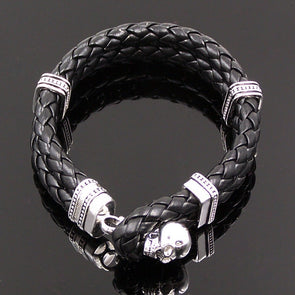 925 Sterling Silver Skull Leather Bracelet Fashion Glam Bijoux Thomas Style Bracelet Men/Women