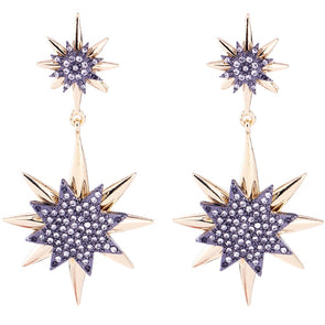 Gold Starburst Rhinestone Earrings Women Statement Dangle Earrings