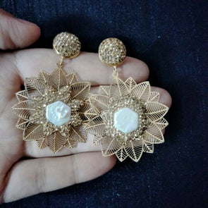 Gold Rhinestone Flower Copper Dangle Earrings Women Natural Freshwater Pearl Earring Women Jewelry