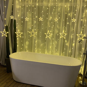 LED Stars Christmas Garland Lights Xmas Ornaments Hanging Curtain Lights String Home Decor Party