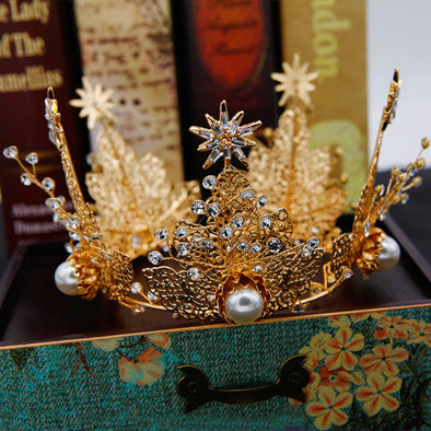 Gold Leaves Crystal Pearl Crown Theatre Crown Hair Jewelry Cosplay