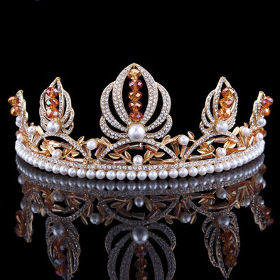 Elegant Crystal Pearl Bridal Crown Tiara High-end Gold Wedding Hair Jewelry Accessories Prom Party Cosplay