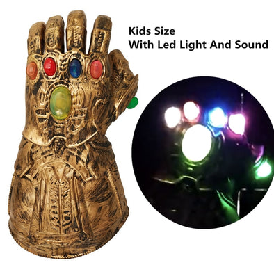 Kids Latex Gloves Thanos Infinity Gauntlet With Light Superhero Cosplay For Party Kids Anime Figure