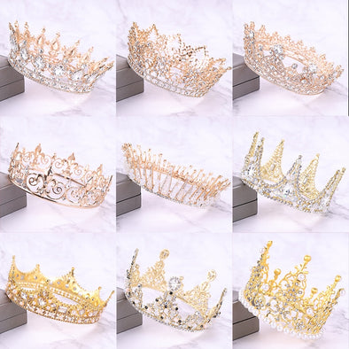 Gold Silver Crystal Tiara And Crowns Women Baroque Hair Jewelry