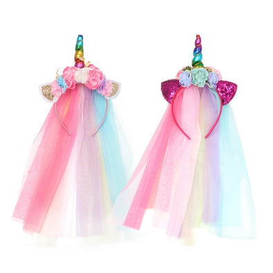 Hairbands Girls Rainbow Unicorn Headband With Tulle