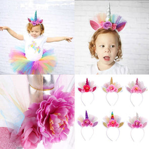 Brand New Unicorn Horn Baby Girl Flower Crown Tulle Flowers Headband Birthday