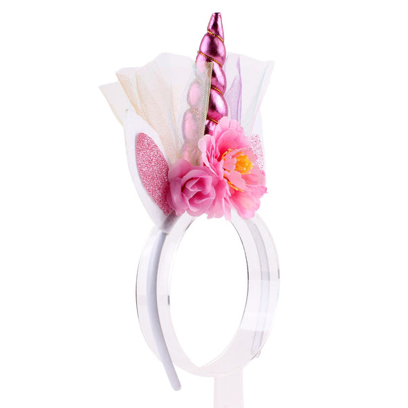Brand New Unicorn Horn Baby Girl Flower Crown Tulle Flowers Headband Birthday - Cosplay Infinity
