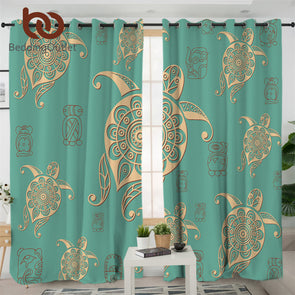 Turtles Curtain for Living Room Tortoise Blackout Curtains Mandala Flower Green Window Drapes 1/2pcs