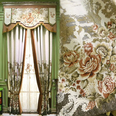 Custom Curtains Upscale Yarn-dyed Classical Flower Luxury Pastoral American Cloth Blackout Curtain Valance Tulle Sheers - Cosplay Infinity