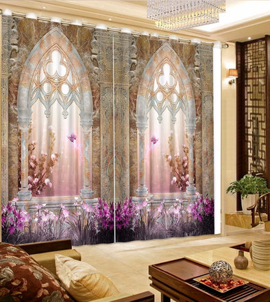 3D Curtain Flower European Marble Purple Blackout Curtains Bedroom Shade Window Drapes