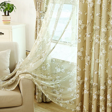 Cotton Linen Blackout Curtains For Living Room Pastoral Style Plum Home Decor Drapes Organza Flower Sheer 1PCS - Cosplay Infinity
