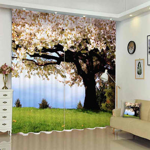 1Set 100% Blackout Curtains Tree Pink Flower Picture 3D Print Window Curtains Drapes For Living Bed Room Hotel Wall Tapestry - Cosplay Infinity