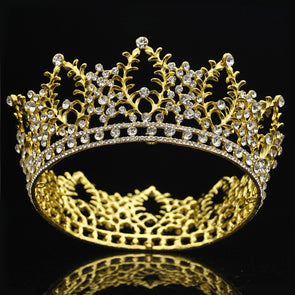 Gold Silver Rhinestone Tiara Crown for Wedding Hair Jewelry Accessories Bridal Diadem Prom Queen King Crowns