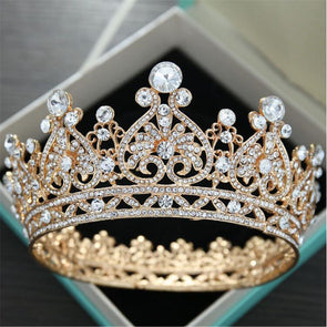 Classic Baroque Rhinestone Tiaras and Crowns Bridal Wedding Hair Jewelry Silver/Gold
